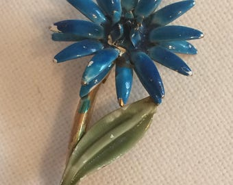 Blue and Green Enamaled Flower Brooch