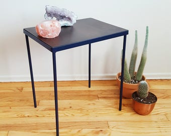 Modern Minimalist End Table in Navy Blue and Walnut