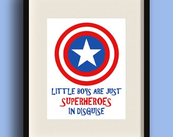 Boys are Superheroes - Captain America DIGITAL ART PRINT - Home Decor, Nursery, Playroom, Little Boys, Marvel, Disguise, Red and Blue, Gift