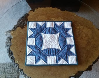 "Blue and white quilted table topper, 14""x14"""
