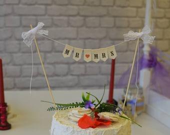 Cake Topper, MR & MRS Cake Bunting, Rustic Cake Banner, Mini Bunting, Cake topper, Shabby Chic Wedding Cake Topper, Love Hearts