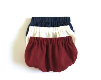 Set of 3 Linen Bloomers. Red - Navy Blue - Broken White