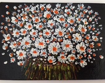 Bouquet of Daisies in Acrylic Paint