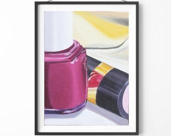 Nail Polish Original Oil Painting, Original Wall Art