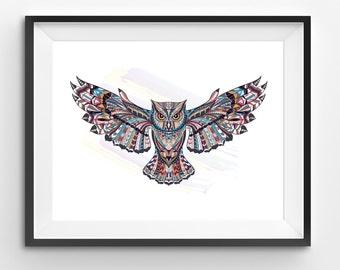 Colorful Owl Art, Owl Wall Art, Mosaic Owl Print, Animal Print, Ethnic Owl, Owl Digital Print, Digital Download