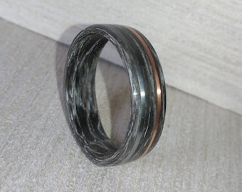 Steel and Copper Gray Striped Ebony Bentwood Ring