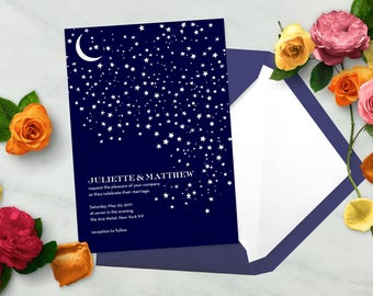 PRINTABLE Moon and Stars Wedding Invitation Set, Perfect for LETTERPRESS