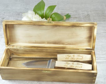 Rustic Country Chic Wedding Knife Set, Natural Wood, Cake Serving Set Rustic Wedding Cake, Server and Knife