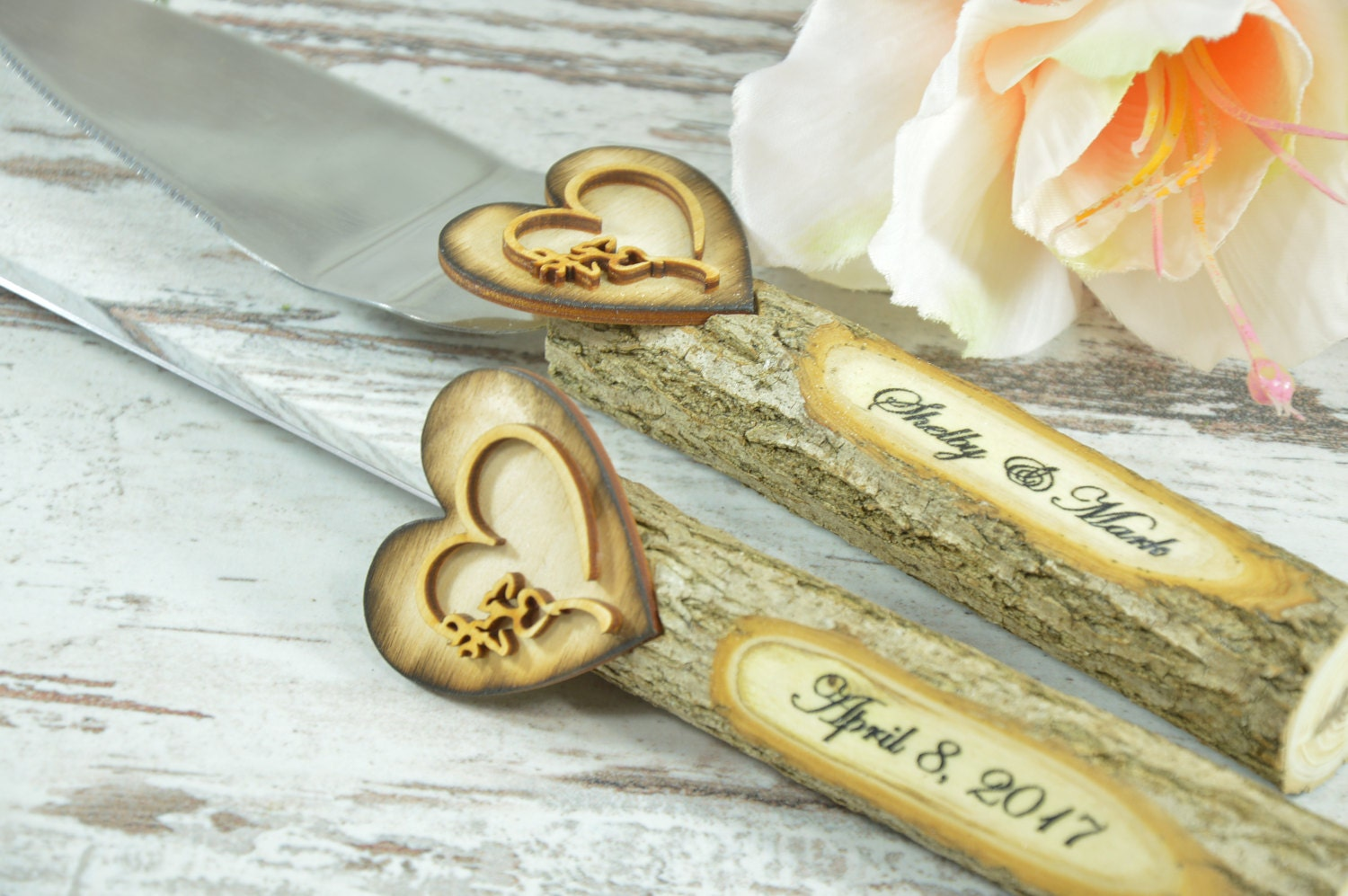 bridge over troubled water wedding cake wedding cake server and knife rustic wedding cake serving set 12144