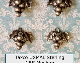 ONE Sterling Silver Taxco Mexico UXMAL Hand Crafted Realistic Grape Cluster Button