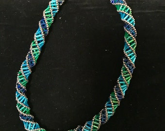 Blue Green Russian Spiral Necklace