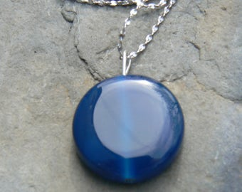 Round blue glass bead necklace