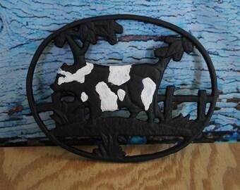 """Cast iron Cow Trivet 6.75""""W x .75""""H x 6.75""""D"""