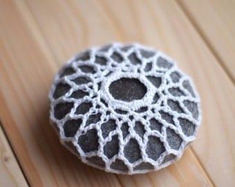 Crochet covered rock, Stone decor, Home decor, pebble stone, tabletop decor, crochet pebble, gift for her, birthday gift, crochet rock
