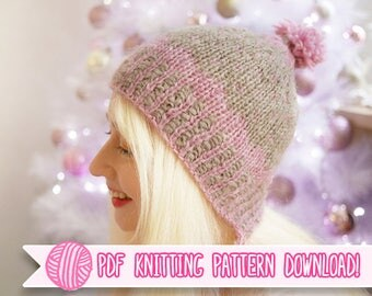 Scalloped Pixie - Contrast Color Earflap Hat PDF Knitting Pattern - Digital Download