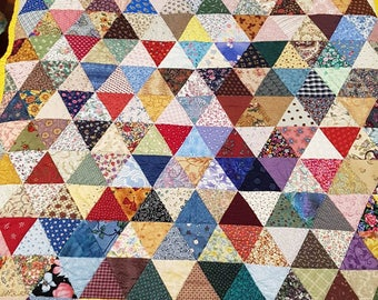 Multi coloured Diamonds, lap quilt or single bed topper