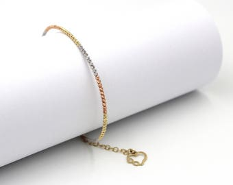 14k Three Color White, Rose, Yellow Gold Beaded Bangle with a Yellow Gold Heart Charm