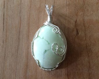 Wire Wrapped Lemon Chrysoprase Pendant