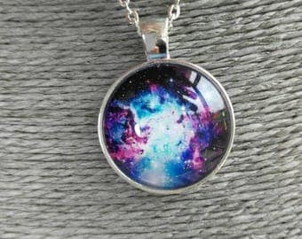 Price drop - Stunning nebula, Astronomy necklace on a sterling silver 925 snake chain necklace
