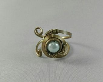 Brass Ring Adjustable Light blue pearl