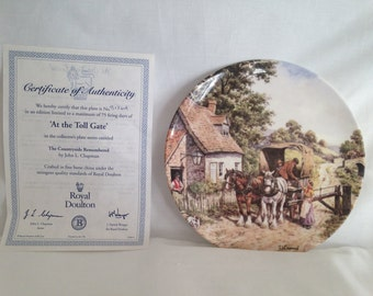 Royal Doulton, At the Toll Gate, Countryside Remembered Series, Ceramic Plate