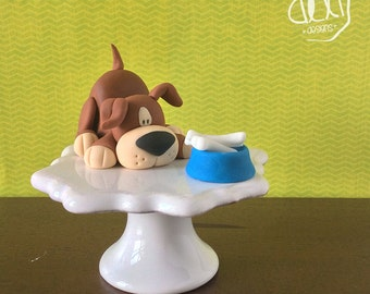Edible Fondant Cute Little Puppy Cake Topper