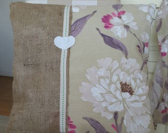 Shabby chic floral and hessian cushion