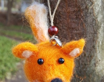 Hand Felted Fox Hanging Ornament
