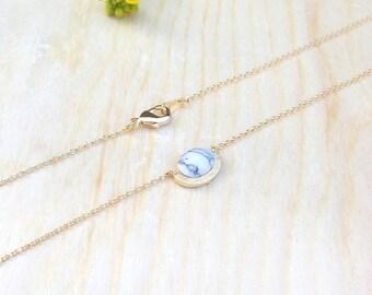 White Marble Stone Necklace, Minimal White Howlite Necklace, Oval Stone Necklace
