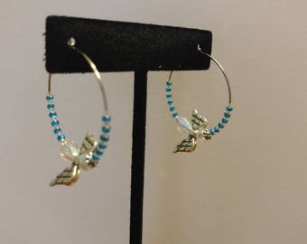 Blue Japanese Glass Seed Bead and Czech Glass, Stainless Steel Hoop Earrings with Angel Element