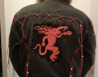 On  SALE Now! FIREBALL Vtg  Black Jean Jacket Suede Fringe Trim OOAK Hand Embellished Bugle Boy Brand w/ Silver Metal Skulls