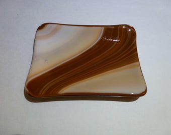 Cream, Tan and Brown Soap dish, Fused Glass Soap dish . DRGS205