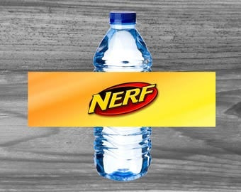 Nerf Birthday Party Water Bottle Wraps