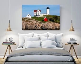Nubble Lighthouse - Lighthouse Photo - Maine Photograph - Nubble Light - Canvas Wall Art - Nautical Decor - Ocean Seascape - York Beach