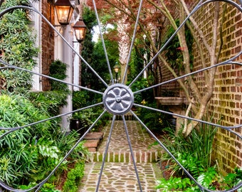 Canvas Garden Gate Art - Charleston Iron Gate Photo - Charleston South Carolina Photography - Wrought Iron Gate Photograph -  Garden Artwork