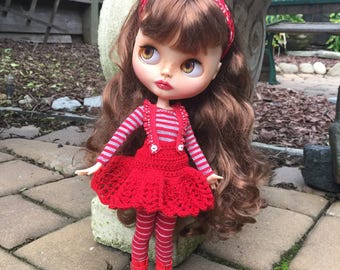 Red blythe outfit, pure neemo clothes, striped doll clothes, crochet doll skirt, 12 inch doll clothes, 1:6 scale doll wardrobe, blythe dress