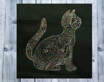 Embroidery, Zen embroidered cat, cat, 13 x 18