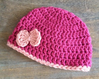 Baby Hat 0-3 months, in pink and light pink