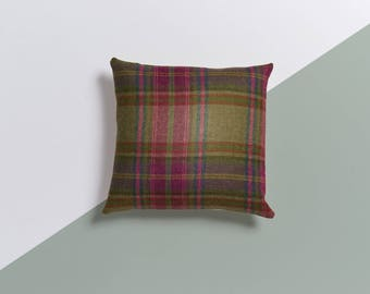 Green Cushion, Handmade, New Home Gift, Tartan Cushion, Housewarming Gift, Scatter Cushion, Decorative Cushion, Small cushion,