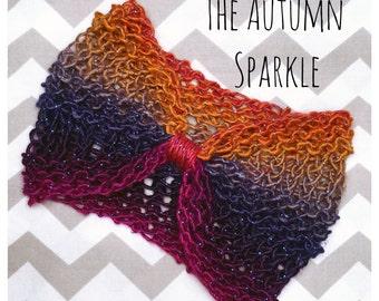 Handmade Bow Headband - The Autumn Sparkle (3-12 months)