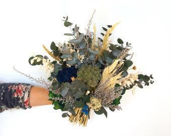 Ramo de flores preservadas verde silvestre BOSTON - Greenery flower bouquet - Boho flower bouquet - Boho wedding flowers - Ramo novia