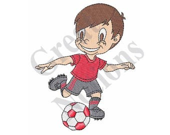 Boy Playing Soccer - Machine Embroidery Design