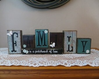 Family Sign Love Family Wood Blocks Family Grandparents Home Decor