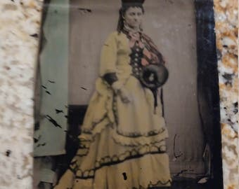 In Living Color:  Amazing Hand-Tinted Antique Tintype Photograph of Woman
