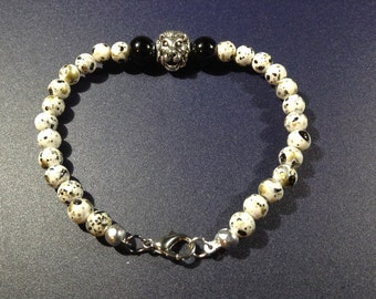 Black and white speckled lion bracelet