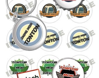 """Digital Images """"Tonton 1"""" for Jewelry Making, Bottlecaps, Party Supplies (300dpi)"""