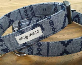 "Blue Denim Chambray Dog Collar - Dark Blue Dog Collar - Navy Blue Dog Collar - Aztec Pattern - Unisex Style - Adjustable Collar ""The Drew """