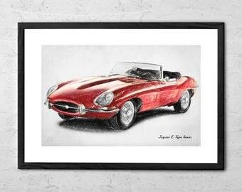 Jaguar E type - Drawing - Jaguar Car - British Classic Car - E-Type Jaguar Car - Car Poster - Garage Decor - Classic Car Drawing - Car Gifts