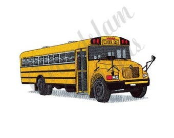 School Bus - Machine Embroidery Design