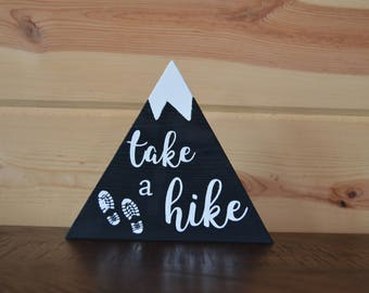 Take a Hike Black Mountain Wood Sign with Snow Handmade Sign Decoration